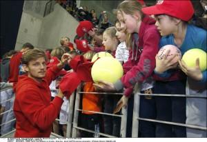 02/03/2016 - LIEGE- Davis Cup Belgium vs Croatia - Kids Day - David GOFFIN signing autographs ©Philippe Buissin/ IMAGELLAN